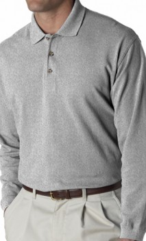 B440 Classic Pique Knit Polo with Long Sleeves