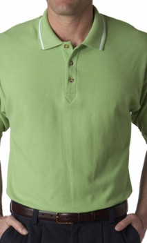 B434 Premium Double Pique Polo with Stripe on collars