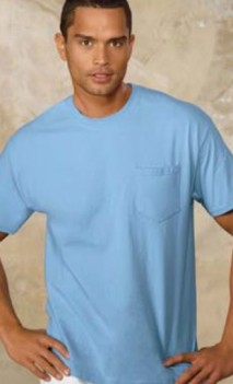 B507 Tagless 100% Cotton short Sleeve T-shirt Mens with Pocket