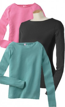 B156 Ladies Long Sleeve Wide Scoop T-Shirts