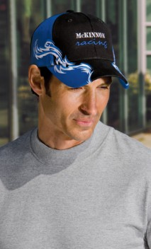B242 Colorblock Racing Cap with Flames