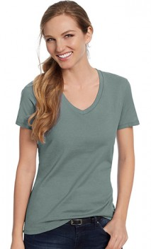 B925 Ladies' 4.5oz 100% Ringspun Cotton V-Neck nano-T