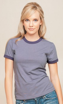 B153 Heather Vintage Ringer Junior Ladies T-Shirt