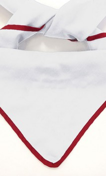 B847 Neckerchief  White with Color Edges