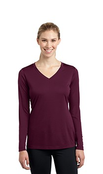 B1059 Ladies Long Sleeve Wicking V-Neck Tees